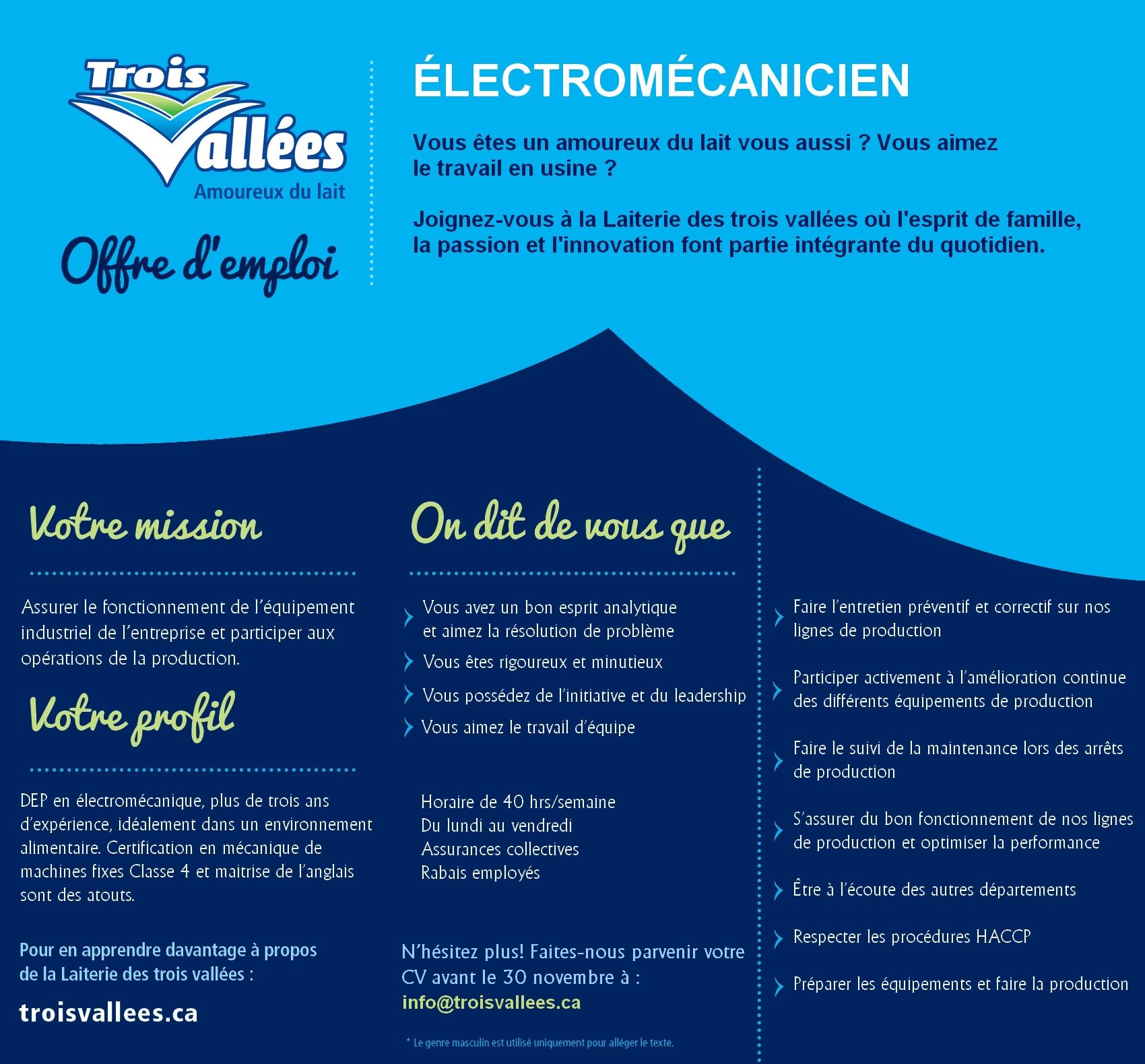 Offre emploi électromécanicien